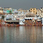 The Pushkar bathing ghats with pilgrims